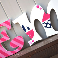 Personalized Wood Letters - Nautical Girls Theme with Sail Boats, Stripes, Polka Dots, Anchor Pink, White, and Blue