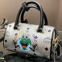 MCM New fashion more letter print leather pillow shoulder bag crossbody bag handbag Silver