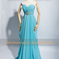 Sweetheart Blue Prom Dress Floor Evening Party Dress