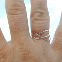 Wave Set of 3 Extra Skinny Sterling Silver Stacking Ring Set // Set of THREE  // made to order