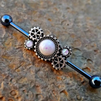 White Opal Gears Steam Punk Industrial Barbell 14ga Upper Ear Jewelry Piercing Body Jewelry
