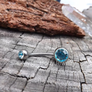 """Belly Button Ring 14g Titanium Curved Barbell 3/8"""" 10mm Silver Piercings Navel Rings Aqua Gemstone Barbells 1/2"""" 12mm Blue Gems Body Jewelry"""