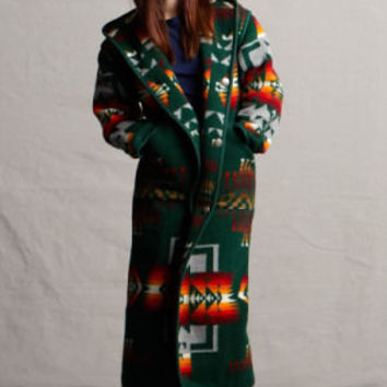 Reversible Wool Long Coat in Forest, Made with Genuine Pendleton ® Wool Fabric