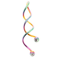 Rainbow Anodized Stainless Steel Spiral Belly Ring