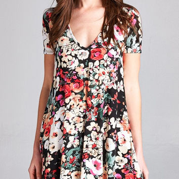 Short-sleeve Floral Dress