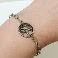 Tree of Life Bracelet, Brass Charm Chainmaille Bracelet, Bridsmaids, Friends, Sisters, Mothers Daughters Gifts