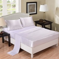 Home Textile Satin Silk Coverlet Bed Sheet Set Solid White Bedding Set  Fitted Sheet  Rubber Mattress Protector Bedspread