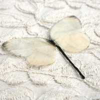 Silk Cream Butterfly bobby pin, boho, woodland, romantic, spring, natural, mori girl,