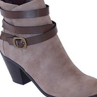 Taupe & Brown Strappy Ankle Booties