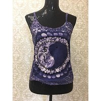 Women's Spaghetti Tank Top/Yoga Clothing-Indigo Sun Moon