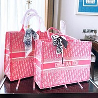 Dior Shopping Bag Shopping Grade Embroidery Shopping Bag (Random Distribution Scarves Color Random) Pink