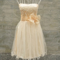 Custom A-line One-shoulder Sleeveless Knee-length Satin Organza Bridesmaid Dress With Embroidery Sashes Free Shipping