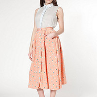 American Apparel - Polyester Button Up Long Skirt