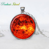 SUN Pendant  SUN Necklace Galaxy necklace Space pendant sun orange Jewelry Necklace for him  Art Gifts for Her(P11H04V04)