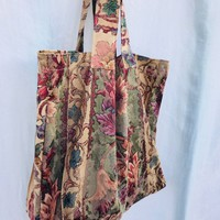 Vintage Fabric Home Decor Market Carry All Tote in Floral Tapestry