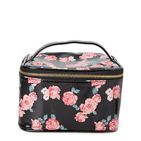 FOREVER 21 Rose Print Travel Cosmetic Case Black/Red One