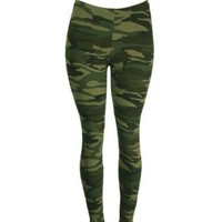 Green Camo Army Design - Military Themed - Stretchy Leggings