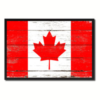 Canada Country National Flag Vintage Canvas Print with Picture Frame Home Decor Wall Art Collection Gift Ideas