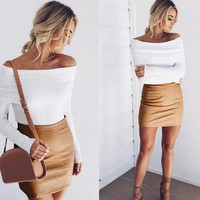 Fashion Women Off Shoulder knitted Sweaters +Free Gift Tatto Choker Necklace-60