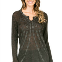 Knit Embroidered Long Sleeve Top