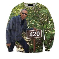 420 Obama All Over Print Green Crew Neck Sweatshirt