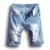 Fashion Men's Slim Ripped Jeans Denim Shorts With Holes