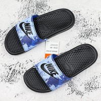 Nike Benassi Swoosh Blue Camo Black Slide Sandal Slipper - Best Deal Online