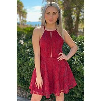 City Of Love Red Embroidered Lace Halter Skater Dress
