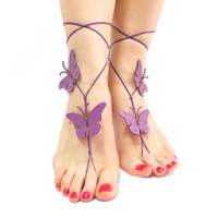 Barefoot sandal, Beach wedding, Butterfly Barefoot Sandal, Purple, Genuine leather butterfly, Foot Thongs, girl, child barefoot sandals