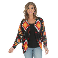 Wrangler® Premium Long Kimono Sleeve Cardigan - Black/Orange