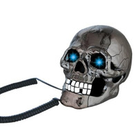 Black Scary Cool Skull Skeleton Shaped Telephone Land Fixed Line Desk Wired Corded Phone with Blue Led Flashing Eyes Punk Gothic Creative Funny Home Office Decoration Gifts