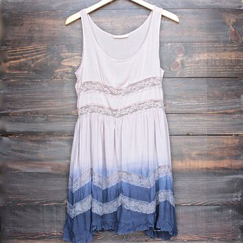 Final Sale - Dip Dye Boho Lace Trim Trapeze Slip Dress in Mocha and Navy