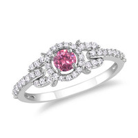 1/2 CT. T.W. Enhanced Pink and White Diamond Buckle Ring in 14K White Gold - View All Rings - Zales