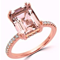 Noori 14k Rose Gold 2 1/3ct TGW Emerald-cut Morganite and 1/3ct TDW Diamond Engagement Ring (G-H, SI1-SI2) - White | Overstock.com Shopping - The Best Deals on Gemstone Rings