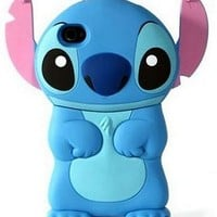 New Blue Cute 3D Stitch Hard Case with Movable Ears w/ 1 Bonus Screen Protector for I-Phone 4G/4S