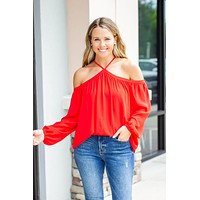 Get Tied Halter Blouse - Red