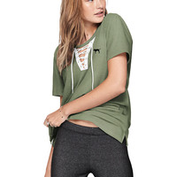 Campus Lace-Up Short Sleeve Tee - PINK - Victoria's Secret