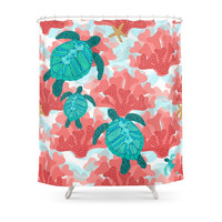 Society6 Sea Turtles In The Coral - Ocean Beach Marine Shower Curtains