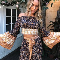 Boho Floral Print 2 Piece Set Women Casual Holiday Loose Overall Elegant Off Shoulder Flare Sleeve Top Wide Leg Pants Set
