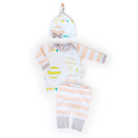Whimsical Newborn Take Home Outfit Baby Girl Air Balloon and Bunting with Beanie Hat