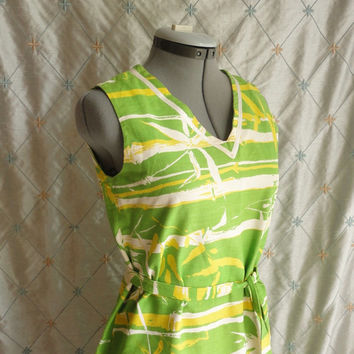 ON SALE 60s Dress // Vintage 60s Lime Green and Yellow Bamboo Print Dress Size L