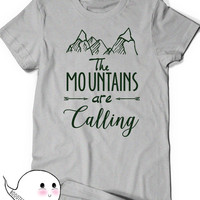 Mountains T-Shirt T Shirt Tees Funny Humor Ladies Girl Womens Mens Gift Present Hiking The mountains are calling Climbing Hiker Trail Camp