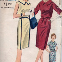 1960s Vogue Sewing Pattern Retro Mad Men Style Dress Casual Day Dress Fitted Straight Skirt Blouse Bodice Bust 34