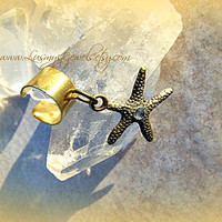 Cute Gold Starfish Ear Cuff, Nautical, Starfish jewelry, Cartilage Ear Cuff, Beach Wear, Resort Wear, Ocean,Ready to Ship, Direct Checkout