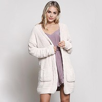 Textured Knit Shawl Cardigan in Cream
