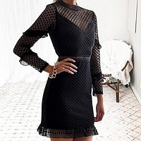 Hollow Out Double Layer Dress Long Sleeves White Lace Dress Women Casual Sexy Embroidery Dress