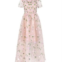 FLORAL EMBROIDERED MAXI DRESS