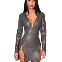 Venus Olive Green Vegan Leather High Slit Pin Detail Bodycon Dress