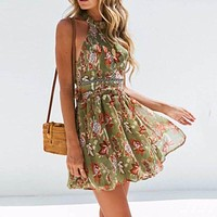 Summer Sexy Club Travel Beach Sweet Party Boho Women Dresses Casual Pink Chiffon Lace Halter Floral Hollow Backless Print Dress