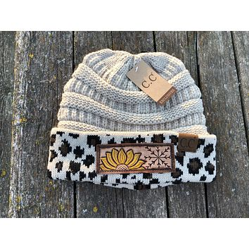 Light Tan or Beige Leopard Print Beanie Hat with Sunflower and Snowflake Tooled Leather Patch Hat